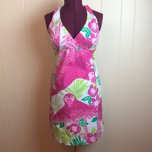 Lilly Pulitzer Pink Green Halter A Line Dress